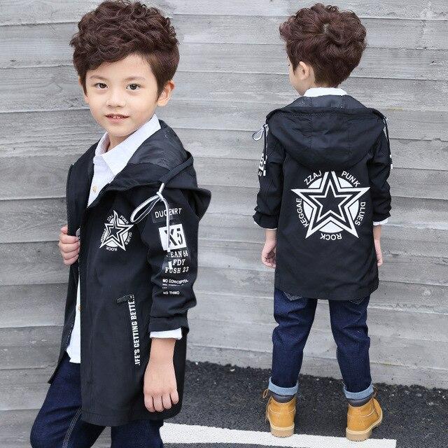 Одежда для маленьких мальчиков, коллекция 2019 года, Весенняя модная одежда, длинная Детская куртка на молнии с надписями для детей возрастом от 4 до 12 лет, бесплатная доставка