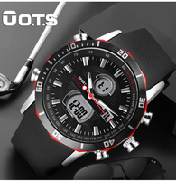 OTS Fashion Casual Outdoor Dual Display Large LED Digital Watch Horloges Mannen Brand Multfunction Male Waterproof