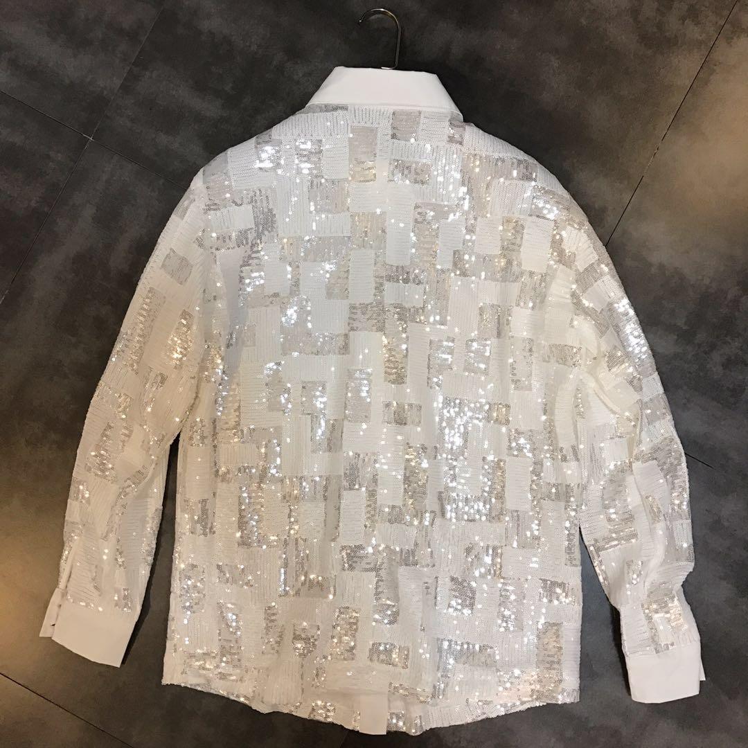 Printemps Blanc Le Décontracté Style Coréen Pour Femmes Chemises Paillettes Boyfriend Femme Hauts rwBvrPq