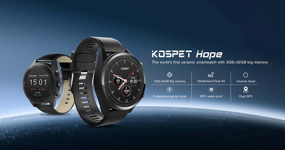 MT6739 Kospet Hope 4G Android7.1.1 3GB 32GB 1.39 Business Smart Watch with AMOLED WIFI GPS GLONASS 8.0MP for Men and Women 18
