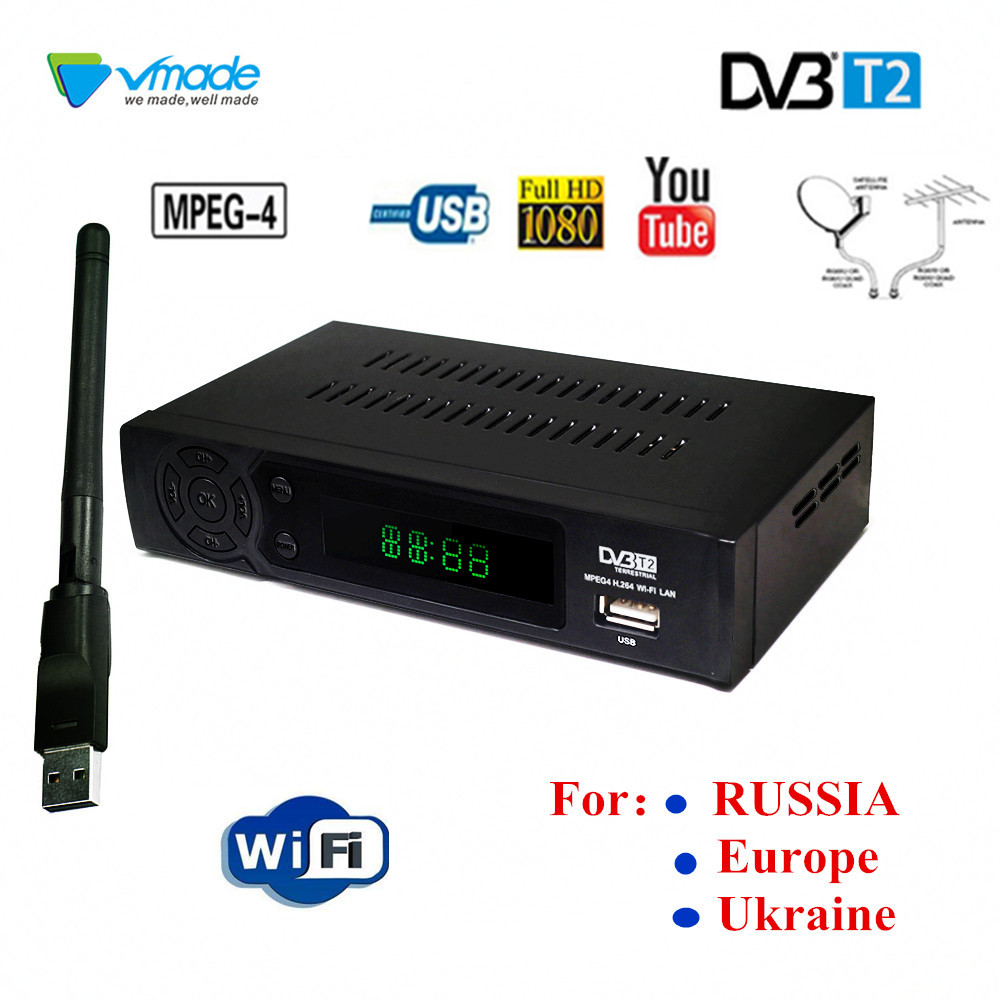DVB T2 Tuner HD Set Top Box Terrestrial TV Tuner Receiver Support Lan RJ45 MPEG4 FTA HDMI PAL TV Box For RUSSIA/Europe/Ukraine