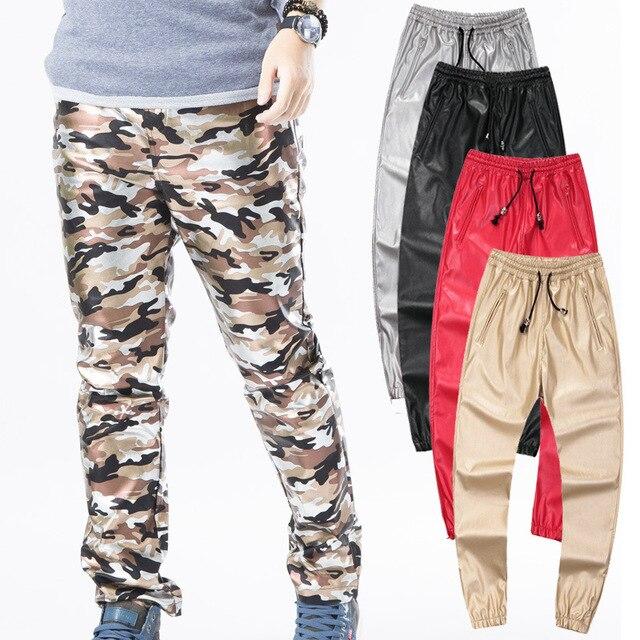 Otoño Invierno de los hombres de hiphop pantalones joggers cuero de LA PU  negro rojo plata 94240340cff