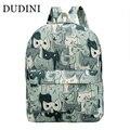 DUDINI Cute Cat Canvas Backpack Casaul Printing Women Rucksack College SchoolBag For Teenagers Large Capacity Shoulders BackPack