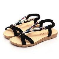 Hot Sale Summer Sandals Shoes Women Peep Toe Low Flat Shoes Roman Style Fashion String Bead