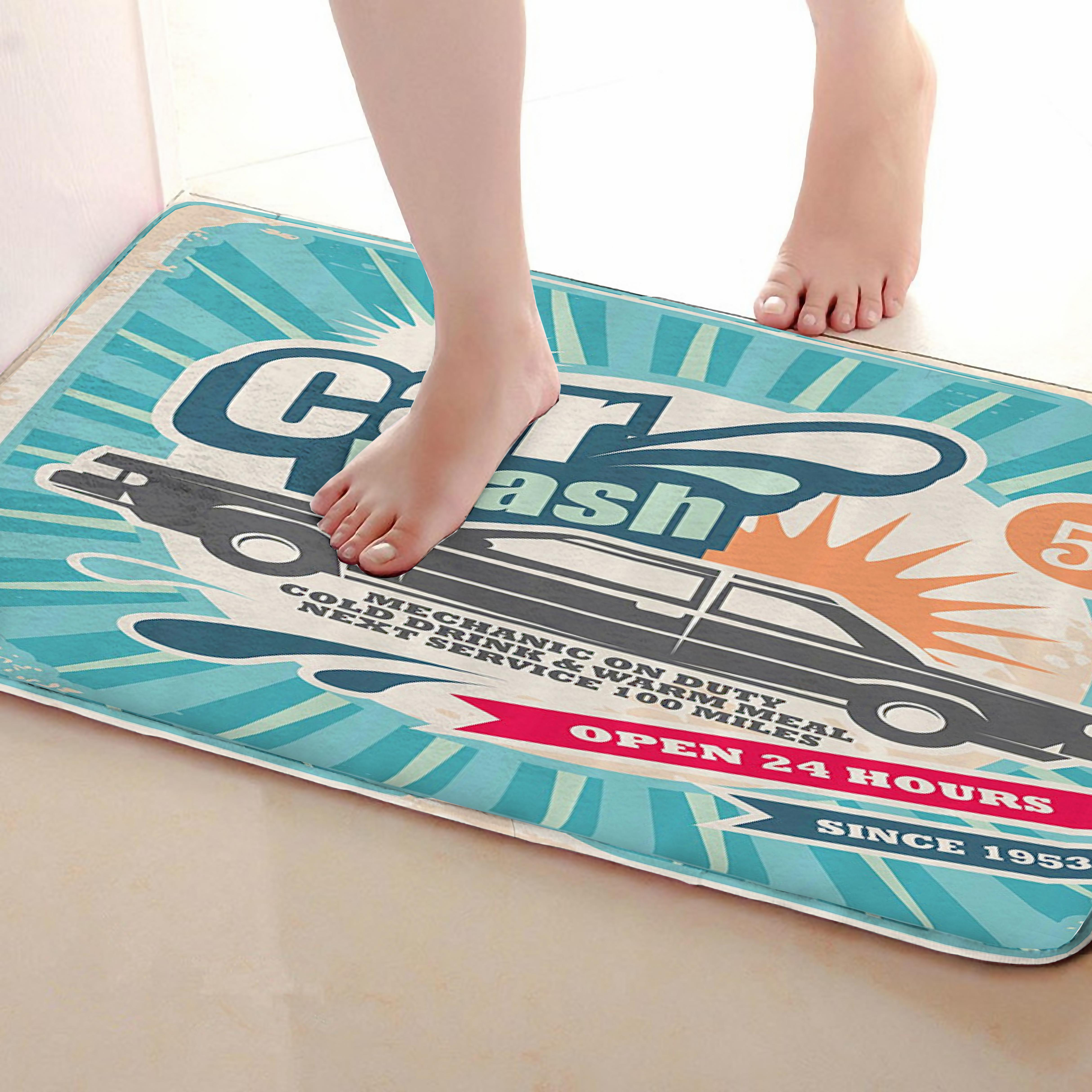 Car Style Bathroom Mat,Funny Anti Skid Bath Mat,Shower Curtains Accessories,Matching Your Shower Curtain