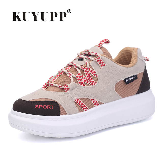 KUYUPP 2017 Spring Fashion Women Shoes Flat Platform Sport Casual Shoes For Women Trainers LaceUp Low Top Shoes Breathable YD111