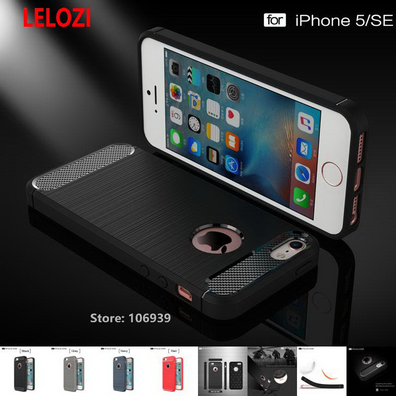 LELOZI Soft TPU Silicone Back Armor Rugged Carbon Fiber Brushed Men Phone Mobile Mobil Coque Etui Case kryty For iPhone 5 5s SE ...
