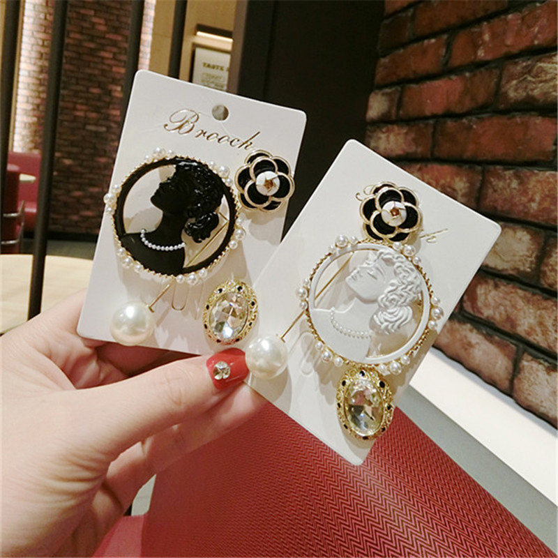 Korea Handmade Vintage Luxurious Rhinestone Saturna Camellia Badge Brooches Pins Fashion Jewelry Woman Accessories-JQGWBH016E