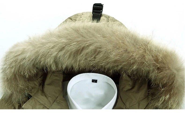 Повседневное зимнее пальто с капюшоном мужская Толстая теплая непродуваемая куртка мужская зимняя хорошего качества с большим меховым воротником пуховик