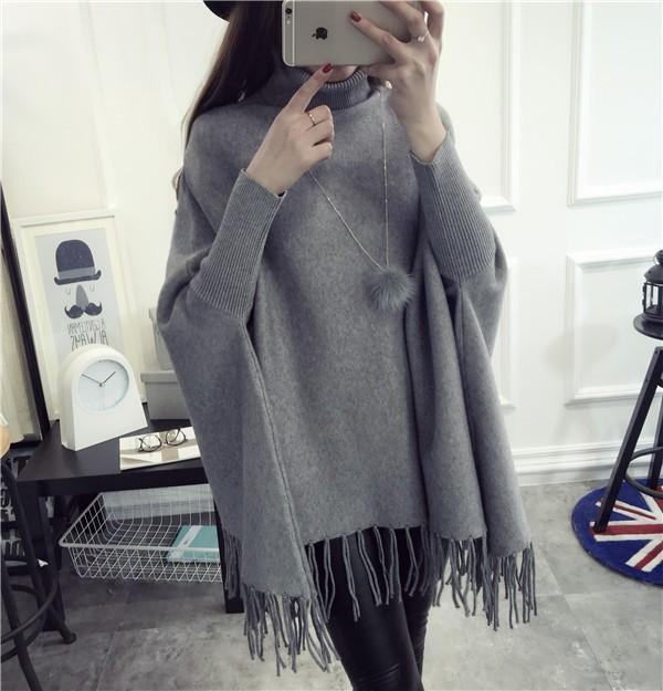 Hot Sale Women Tassel Pullover and Sweater Jumper Loose Oversized Burderry Autumn Winter Batwing Sweaters Poncho Turtleneck