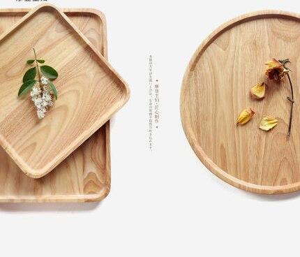 Service à thé rond en bois bois caoutchouc | Style japonais Kung Fu, plateau à thé rond assiette à fruits et thé, plateau rectangulaire