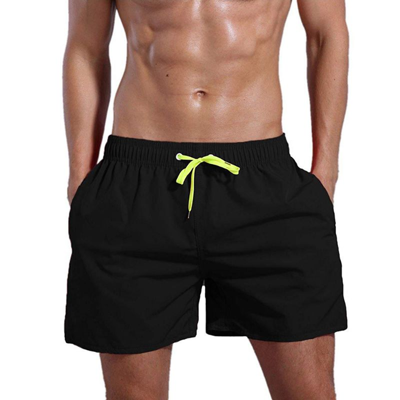 Men Summer Mid Rise Drawstring Swim Trunks Solid Color Quick Dry Cotton Shorts Mesh Lining Casual Beach Pants With Zipper Pocket