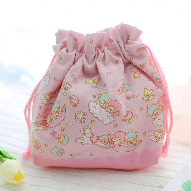 1 Pc New Lovely Cartoon Pink Little Twin Stars Drawstring Bag Coin Bag For Kids Plush Toys Gift