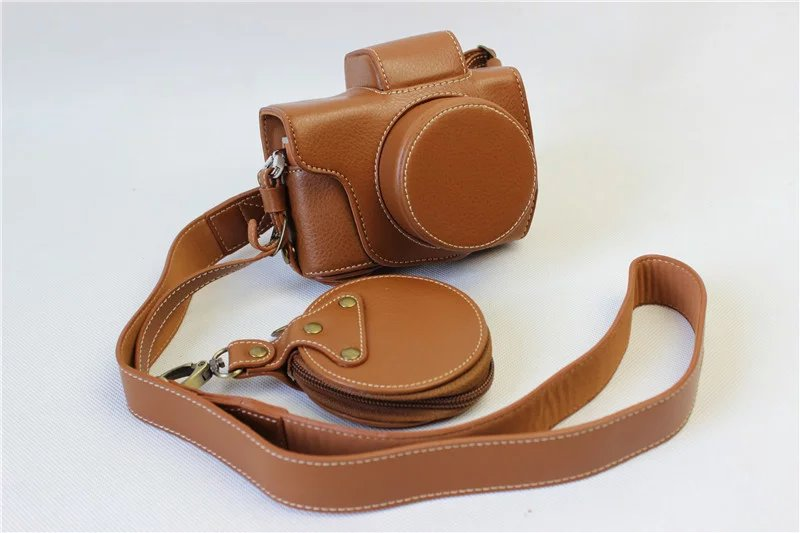 ФОТО Factory High quality Genuine Leather Camera Bag Luxury Vintage Case Cover with strap For Olympus EPL8 EPL-8 Brown