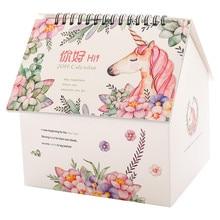 2019 Kawaii calendar table planner Folding House Desktop Calendar Paper Creative Multifunction Note Storage Box