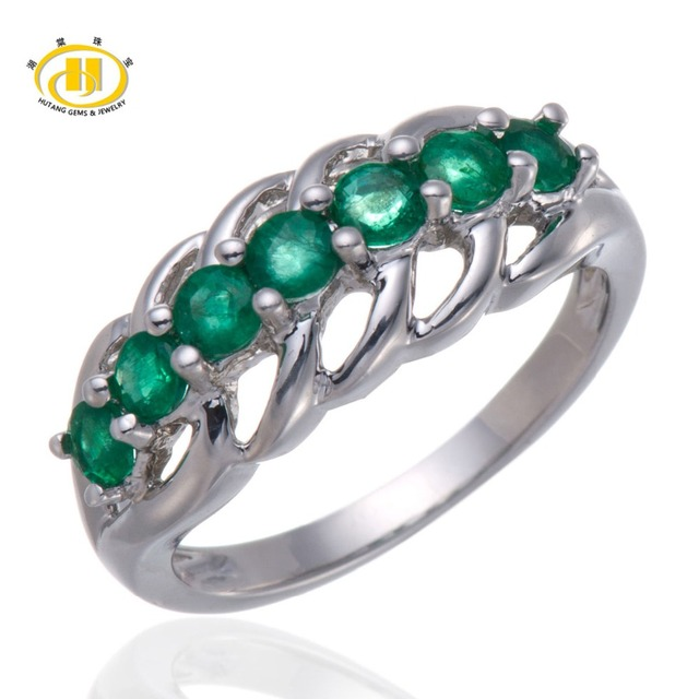 Hutang Богатые Природные Зеленый Драгоценный Камень Изумруд Solid 925 Серебряное Кольцо Изысканные Ювелирные Изделия Драгоценный Камень
