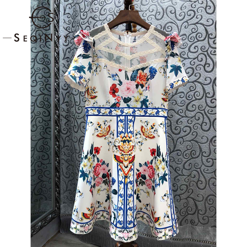 SEQINYY Mini Dress 2019 Summer New Fashion Design High Quality Short Sleeve Spliced Lace Appliques Flowers Printed White Dress-in Dresses from Women's Clothing    1