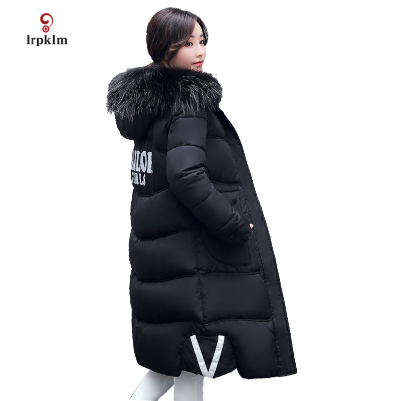 2017 New Big Fur Collar Hooded Female Long Winter Parkas Thick Women Cotton Padded Coat Fashion Slim Outerwear 6 Color PQ014 2017 winter new cotton coat women slim long hooded thick jacket female fashion warm big fur collar solid hem bifurcation parkas