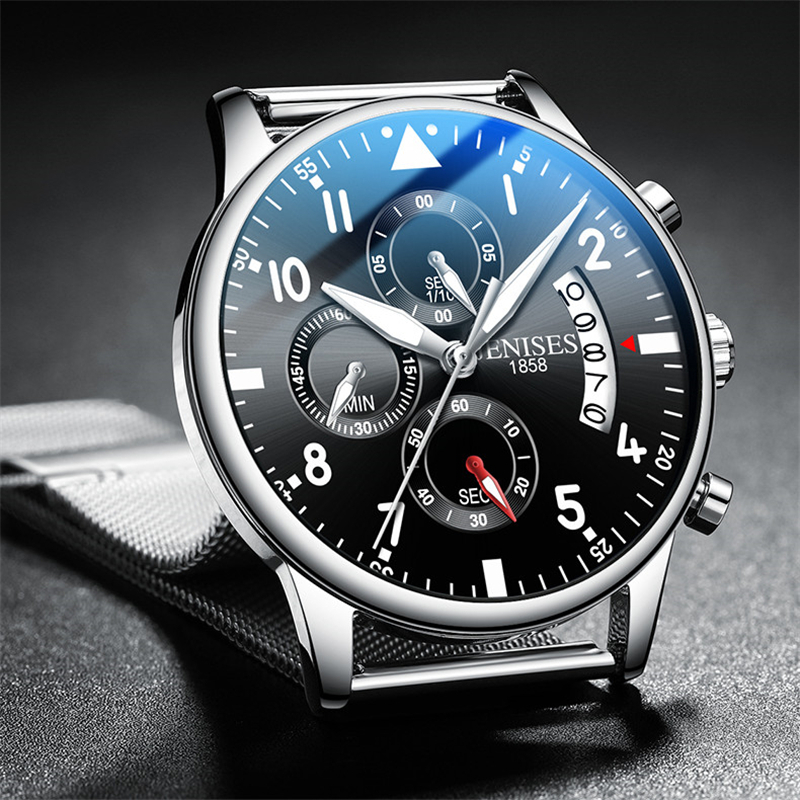 Voll Schwarz Stahl Quarz Männer Uhr Top Marke Luxus Mode Pilot Chronograph Wasserdicht Analog Armbanduhr Relogio Masculino
