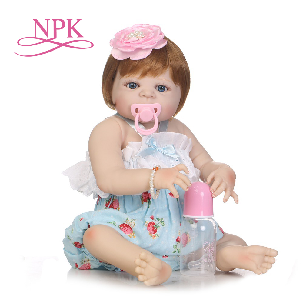 NPK 57CM Popular Victoria glued wig hair Lifelike Baby girl birthday gift full silicone Bonecas Bebes