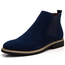 Men's Chelsea Boot 2016 British Leather Suede Men Shoes Sewing Thread Western Motorcycle Boots Men's Ankle Boots XX06229-1020