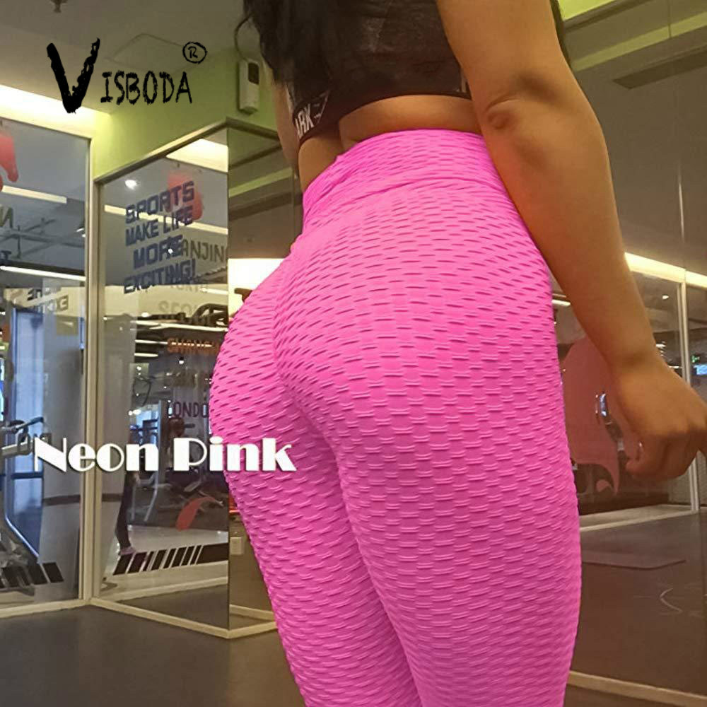 Women Pink High Waist Fitness Breathable   Leggings   Fashion 2019 Female Push Up Black Spandex Pants Workout   Leggings   Plus Size