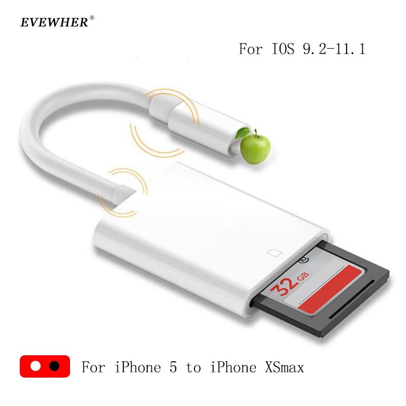 10 pièces lecteur de carte SD Micro SD OTG adaptateur de lecteur de carte à puce pour iPhone 5 6 7 8 XSmax cartes mémoire adaptateur SD pas besoin d'app