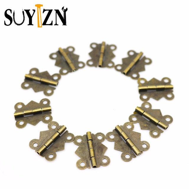 10set Mini Door Hinges Antique Metal Cabinet Copper Small For Jewelry Bo Wooden Box