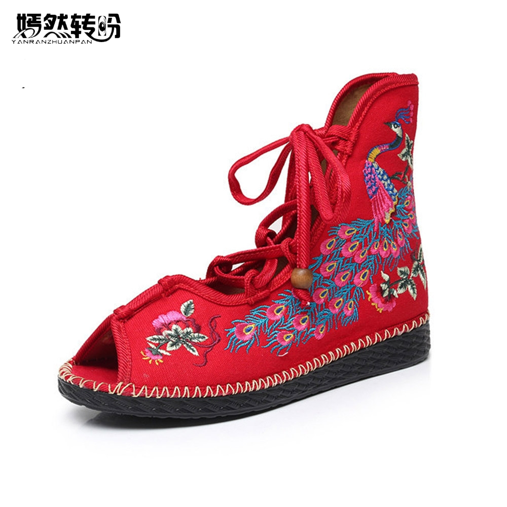 Vintage Women Flats Shoes National Peacock Embroidery Canvas Linen Lace up Women's Dance Ballet Soft Sandals Sapato Feminino vintage embroidery women flats chinese floral canvas embroidered shoes national old beijing cloth single dance soft flats