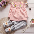 2016 Girls clothes Baby Girl Clothing Set Children Flower Cute Suit 2PCS Kids Twinset Top  Shirt +Plaid Pants Leggings