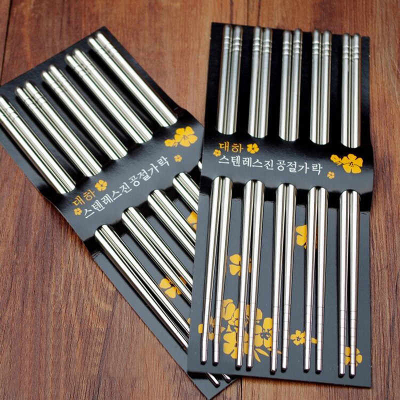 5 Pairs Stainless Steel Square Chopsticks Chinese Stylish Healthy Light Weight Chinese Chopsticks Metal Non-slip Design Kitchen
