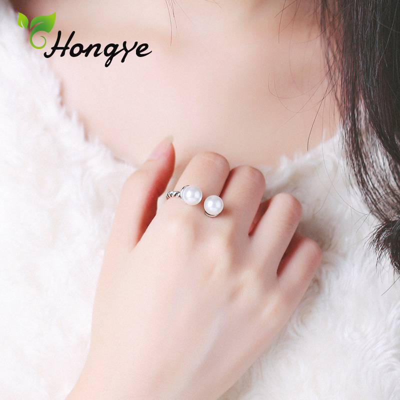 Original Design Adjustable Freshwater Pearl Ring for Women Antique Silver Fashion Finger Jewelry Wedding Party Birthday Gifts in Rings from Jewelry Accessories