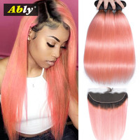 Pink Bundles With Frontal Closure 1B/ Pink Ably Colored Malaysian Remy Human Hair Golden Pink Hair Weaves 3 Bundles With Frontal