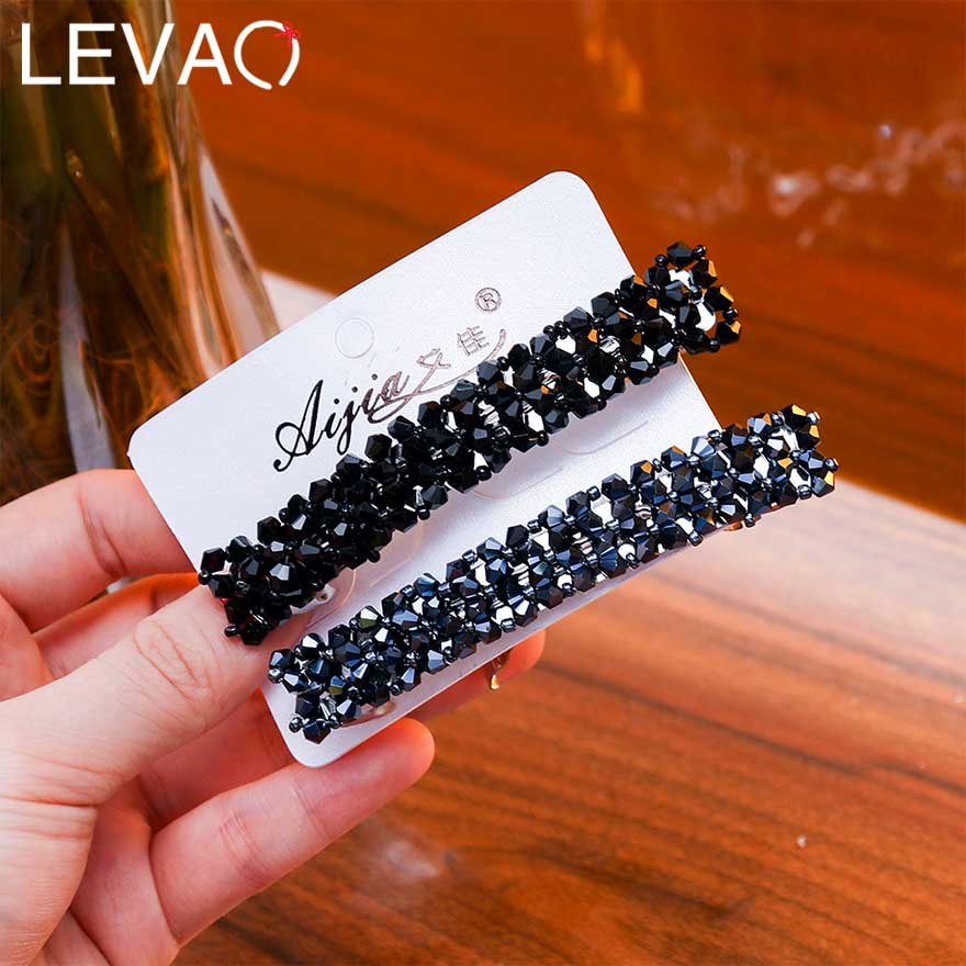Levao 2PC/Set Rectangle Barrettes For Women Hair Accessories Muticolor Metal Crystal Beaded Hairpins Rhinestone Hair Clips