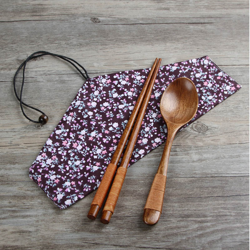 Tableware Gifts Bento Box Accessories Cloth Bag Wood Kitchen Supplies Sets 3pcs Dinnerware Set
