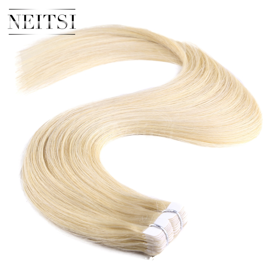 Neitsi Mini Heart Tape In Remy Human Hair 20 613 Blonde 40pcs Straight 100 Virgin Remy