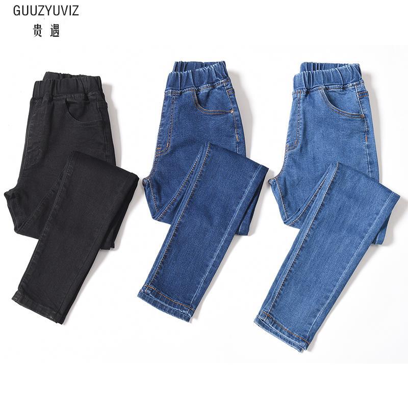 GUUZYUVIZ Casual 6XL Elastic Waist   Jeans   Woman Plus Size High Waist Solid Autumn Winter Denim Cotton Elasticity Denim Pants