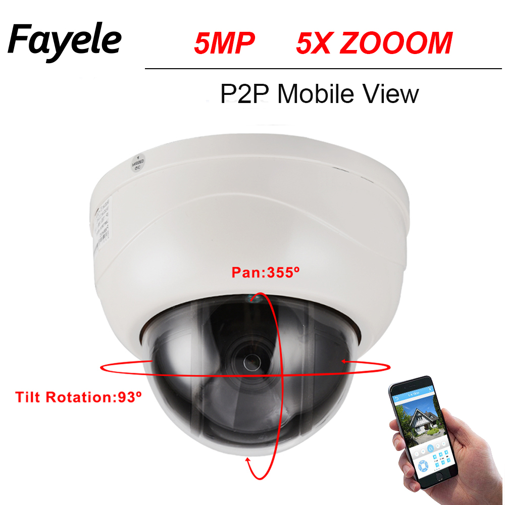 CCTV Security 5MP MINI Dome PTZ Camera 5.0MP 5 Megapixels IP Camera Pan Tilt ONVIF IR 40M 2.7-13.5MM 5X ZOOM IR P2P Mobile View