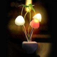 Novelty Mushroom Fungus Night Light EU & US Plug Light Sensor 220V 3 LED Colorful Mushroom Lamp Led Night Lights T0612