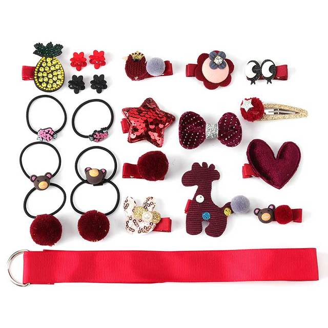 24 Piece clip set Cute cartoon rope bow flower animal Elastic hair band ring 1