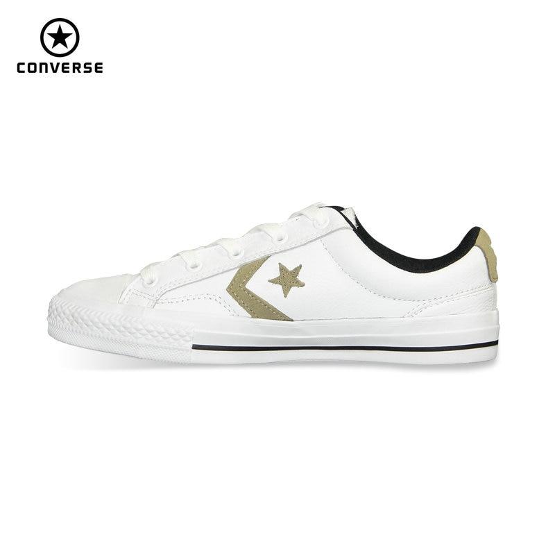 Prix pour Nouvelle d'origine Converse Star Player En Cuir homme de femmes de sneakers blanc couleur Unisexe Planche À Roulettes En Cuir Chaussures 153763C