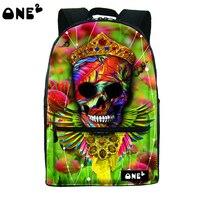 ONE2 Newest Design Flowers Green Skull Retro Nylon Polyester School Bag Laptop Backpack Teenager Boys Girls