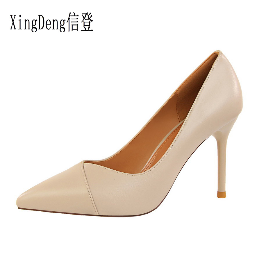 XingDeng Lady Spring Party Dress Stilettos Shoes European Design Pointed Toe  Women Thin Heel Pu Leather High Heels Pumps Shoes