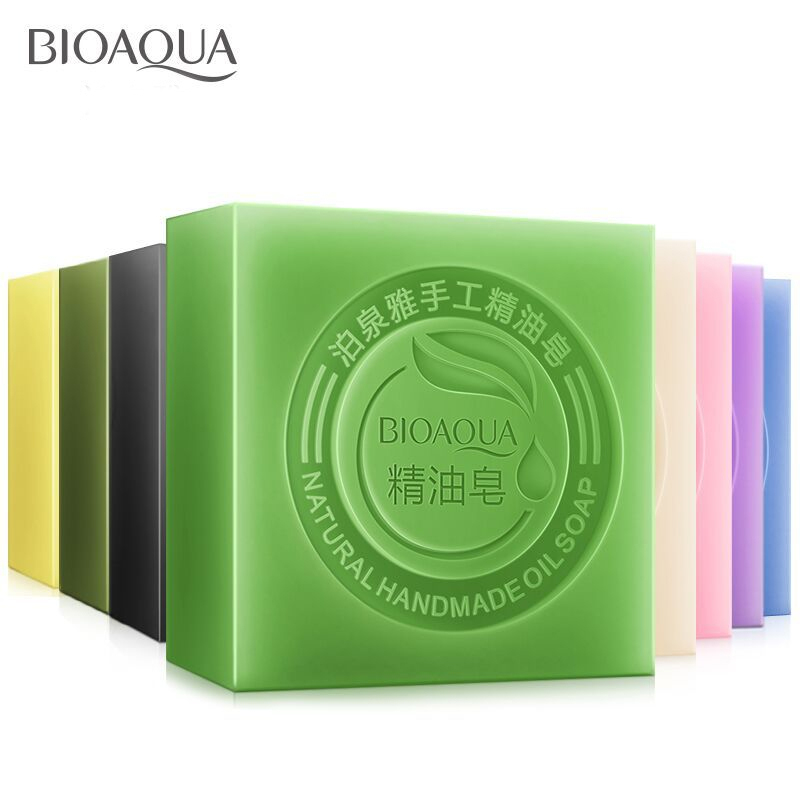 BIOAQUA Lavender Bamboo Charcoal Matcha Moisturizing Essential Oil Handmade Soap Deep Cleaning Brighten Skin Face Care Bath Soap