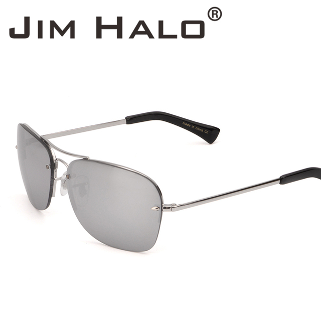 b4d4d69711 Jim Halo Vintage Semi Rimless Aviation Square Sunglasses Silver Mirrored  Lens Metal Frame Sun Glasses Fashion Accessories
