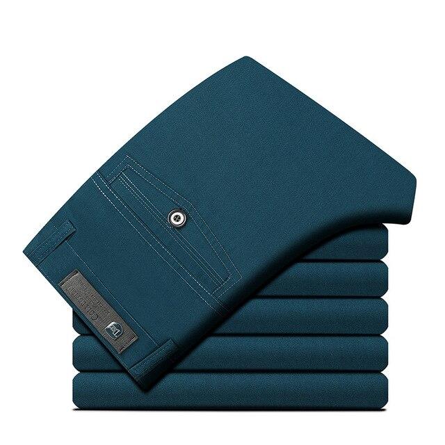 Размер 29-40 Бизнес Случайный Брюки Мужчины Толстые Khaki Черный Коричневый 100% Хлопок Новая Осенняя Мода Мужская С Длинным брюки