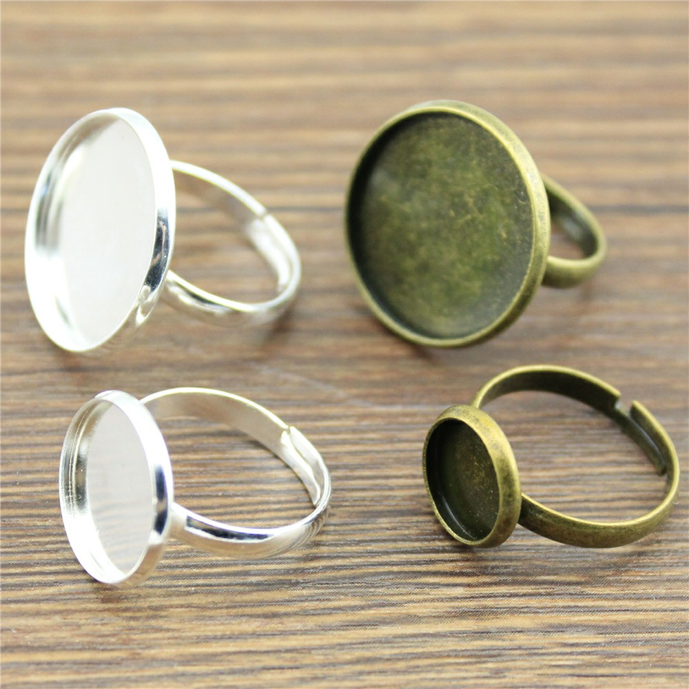 10pcs 2 Colors Fit 10/12/14/16/18/20mm Glass Cabochon Simple Adjustable Ring Setting Base