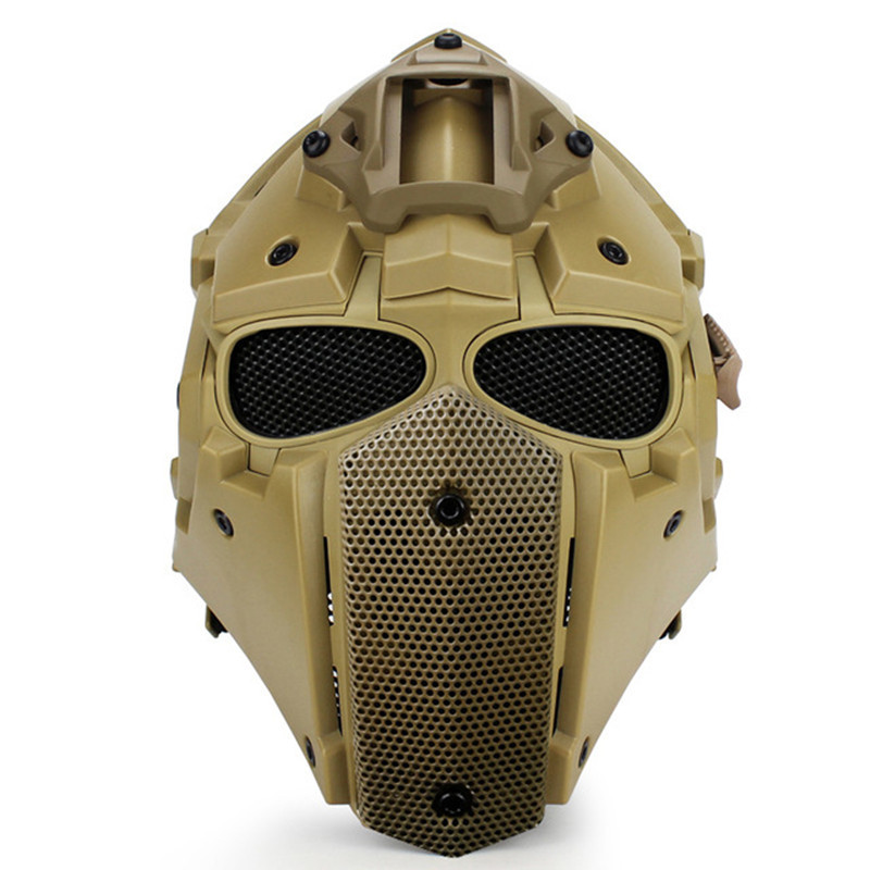 WoSporT Military Tactical Helmet War Game Airsoft Hunting Defense Helmets With Steel Mesh Goggles Military Tactical Accessories