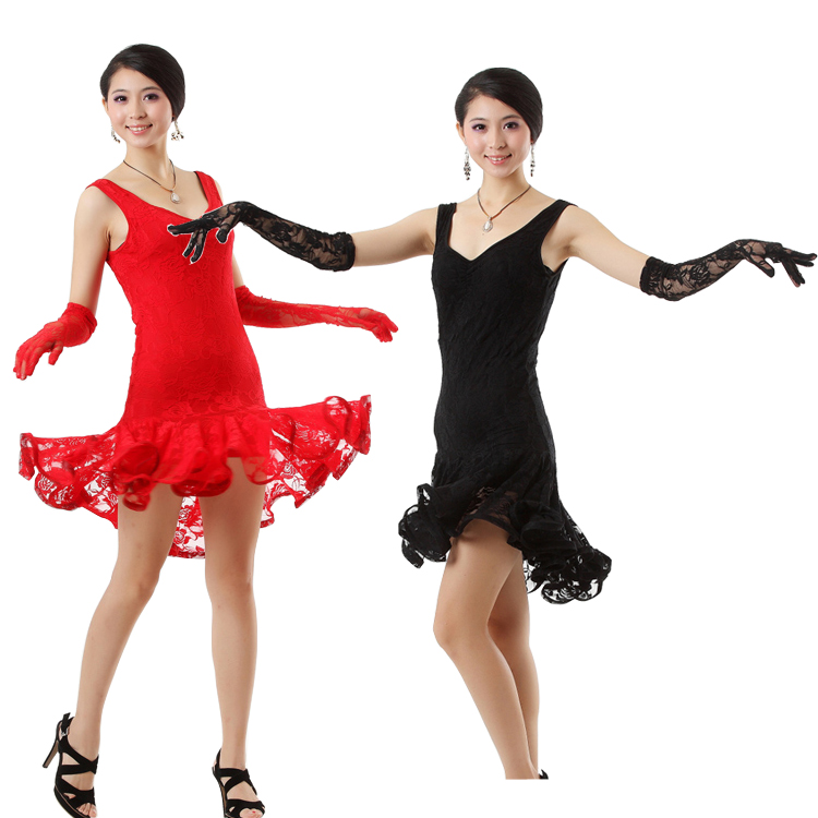 Women Lace Latin Dance Costume Elegant Girls Sequin Latin Tango Ballroom Salsa Dance Dress Lady Waltz