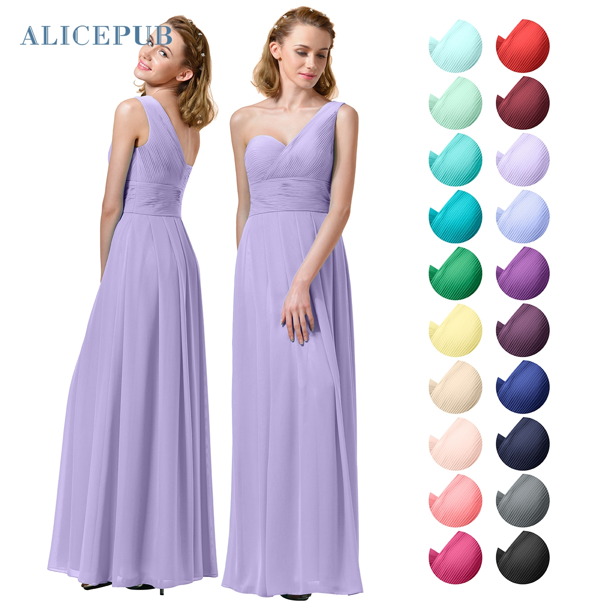 Compare prices on bridesmaid dress maxi online shoppingbuy low alicepub bridesmaid dresses long one shoulder chiffon maxi dress wedding prom party ball gowns multi colors ombrellifo Images